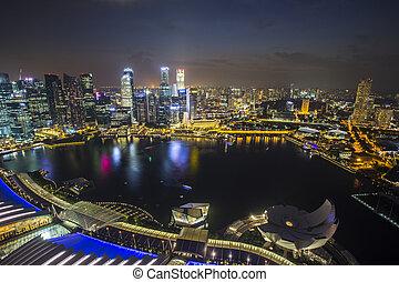 contorno, crepúsculo, topview, singapur