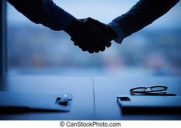 contorno, de, apretón de manos