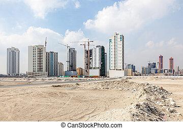 contorno, de, manama, ciudad, bahrein