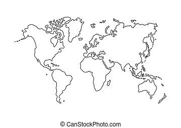 contorno, de, mapa del mundo, blanco, plano de fondo