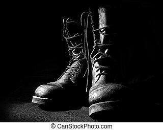 contorno, de, militar, botas