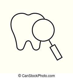 contorno, dental, arriba, ilustración, vector, icono, cheque