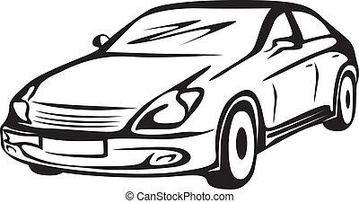contorno, di, il, automobile