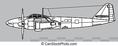 contorno, disegno, ki-83., vettore, mitsubishi