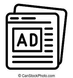 contorno, estilo, advertisment, páginas, icono