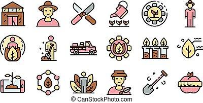 contorno, estilo, conjunto, agronomist, iconos