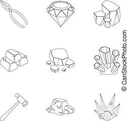contorno, estilo, conjunto, illustration., amd, símbolo, ornaments.precious, joyas, colección, joyero, metals., vector, cristales, icono, acción, minerales, costoso, inspecciona