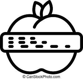contorno, estilo, icono, manzana, agronomist