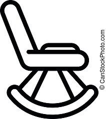 contorno, estilo, icono, silla, mecedor