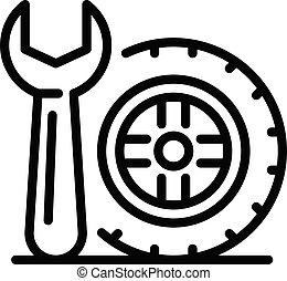 contorno, estilo, rueda, icono, llave inglesa