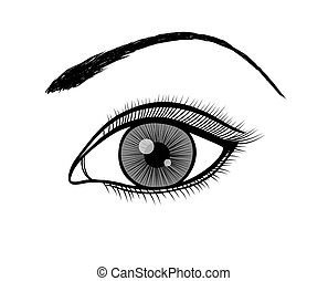contorno, femmina nera, monocromatico, bianco, eye.