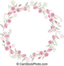 contorno, guirnalda, flores salvajes, su, detallado, rosas, ...
