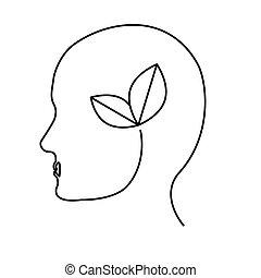contorno, hojas, cerebro, conservancy, icono
