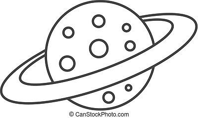 Pianeta Icona Stile Saturno Cartone Animato Web Illustrazione