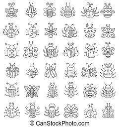 contorno, icone, insetti, collection., set., errori del software, linea sottile, farfalla