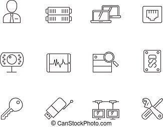 contorno, icone, -, rete, computer, più