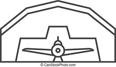 contorno, icono, -, hangar de avión