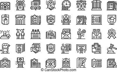 contorno, iconos, estilo, conjunto, notary