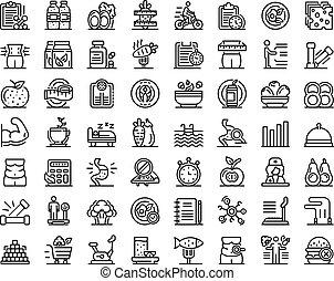 contorno, iconos, estilo, conjunto, nutricionista