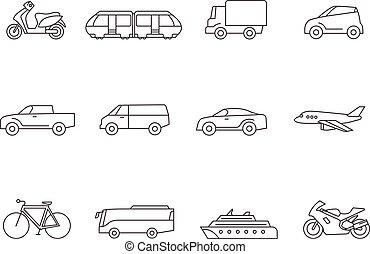 contorno, iconos, -, transporte