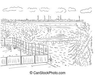 contorno, illustrazione, dipinto, suburbano, albero, mano, case, vettore, nero, campo di gioco, colori, bianco, disegno, paesaggio