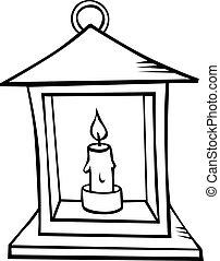 contorno, -, ilustración, negro, vela, linterna