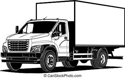 contorno, isolato, vettore, camion, sagoma, bianco