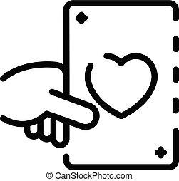 contorno, juego, corazón, tarjeta, icono, estilo