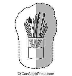 contorno, lápices coloreados, en, tarro, icono