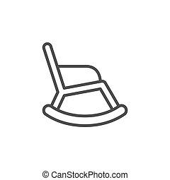contorno, línea, silla, mecedor, icono