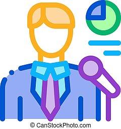 contorno, lector, icono, infographic, vector, ilustración