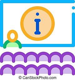 contorno, lector, icono, vector, ilustración, información, ...