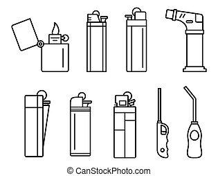 contorno, llama, conjunto, cigarrillo, estilo, iconos, encendedor