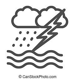 contorno, lluvia, océano, plano de fondo, icono, blanco, ...