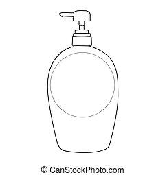 contorno, loción, bomba, botella, o, crema