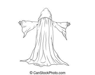 contorno, mago, monje, ilustración, vector, o