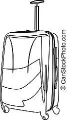 contorno, maleta, vector, ilustración, aislado