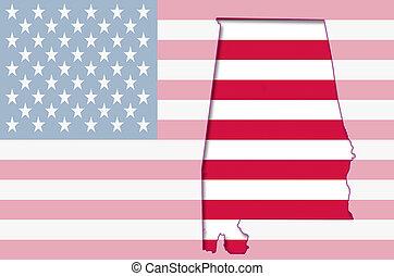 contorno, mapa, de, alabama, en, bandera estadounidense