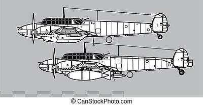 contorno, messerschmitt, vector, bf, dibujo, 110c-d.
