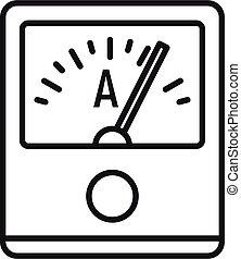 contorno, metro, amperio, dispositivo, estilo, icono