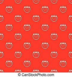 contorno, modello, seamless, fondo., vettore, fragole, bianco rosso
