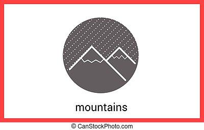 contorno, montanha, vetorial, esboço, picos