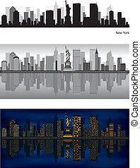 contorno, nuevo, ciudad, york