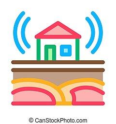 contorno, onda, residencial, ilustración, vector, sísmico, icono, edificio