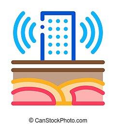 contorno, onda, torre, ilustración, vector, sísmico, icono, edificio