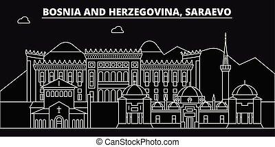contorno, plano, saraevo, silueta, ciudad, bosnia, ...