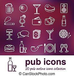 contorno, pub, icone