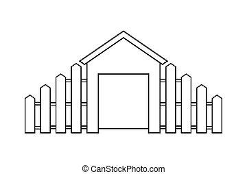contorno, recinto, casa legno, astratto, moderno, illustrazione, vettore, disegno