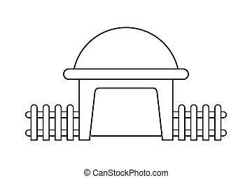 contorno, recinto, modellato, casa legno, astratto, moderno, cupola, illustrazione, vettore, disegno