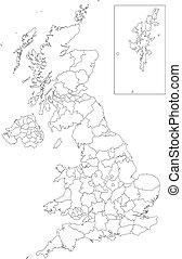 contorno, reino unido, mapa